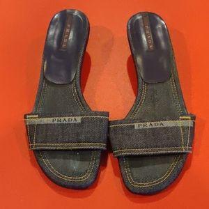 Prada denim slides sandals size 36 kitten heel